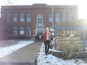 Beth is ready to read to York Elementary students!