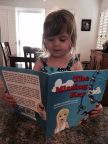 Our adorable granddaughter, Miriam, enjoys THE MISSING KEY. It's illustrated by her talented mom (my stepdaughter) Jessica Connolly.