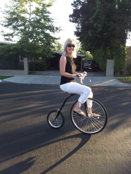 Beth riding a Penny Farthing!